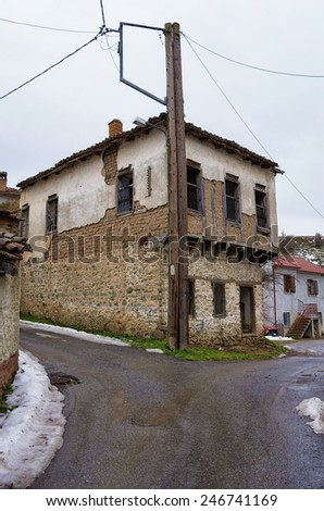 Old and abandoned house in Antartiko village, Florina, Greece - stock photo