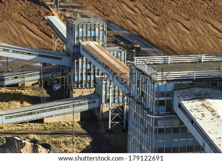 Old and abandoned industrial buildings and infrastructure. - stock photo