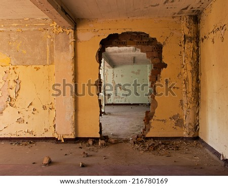 Old and abandoned room of a building - stock photo