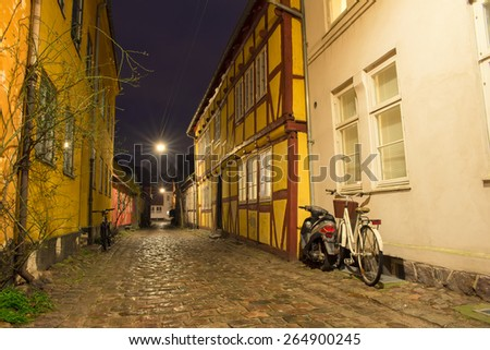 old and beautiful streets in Helsingor - stock photo