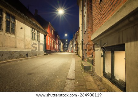 old and beautiful streets of the city at night in Helsingor - stock photo