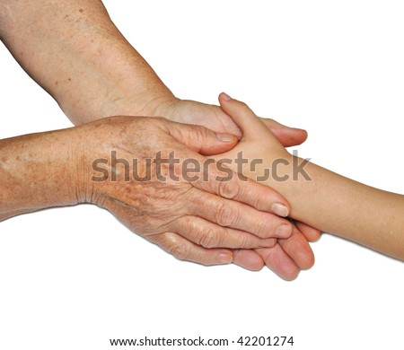 old and children's hands, offering assistance - stock photo