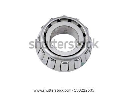 Old and dirty ball bearing, isolated on white background - stock photo