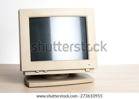 old and dirty CRT computer monitor. - stock photo