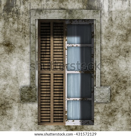 Old and dirty facade with window and stone frame, 3d rendering, digital illustration art work. - stock photo