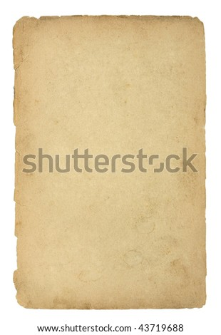 Old and dirty sheet of paper with clipping path - stock photo