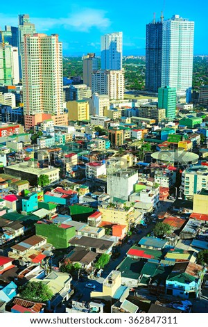 Old and modern architecture of Makati city - is one of the 17 cities that make up Metro Manila. Philippines - stock photo