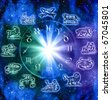old and modern symbols of zodiac signs with mystic wheel with light over starry Universe - stock photo