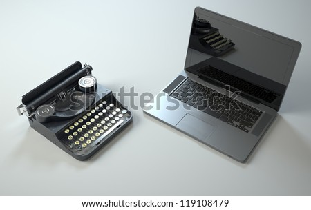 old and new - stock photo