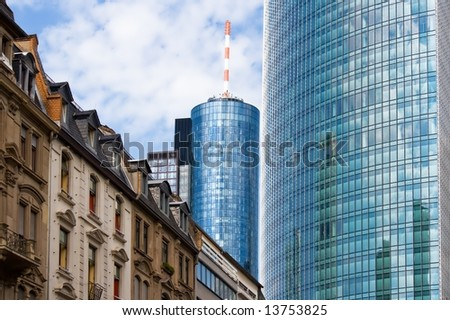 Old and new architecture in Frankfurt, Germany - stock photo