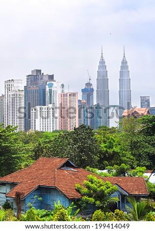 Old and new architecture of Kuala Lumpur. Malasia - stock photo