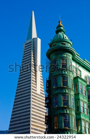 Old and New building in San Francisco - stock photo