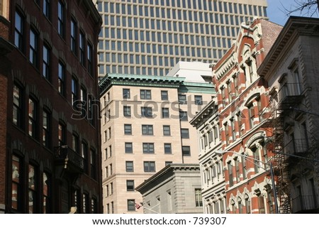 Old and new buildings in downtown Providence, Rhode Island. - stock photo