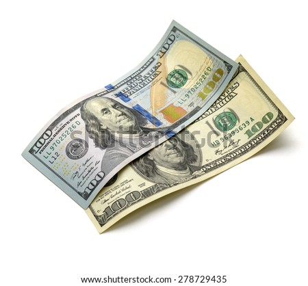 old and new hundred-dollar bill on a white background - stock photo