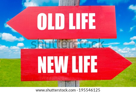 Old and new life choice showing strategy change or dilemmas - stock photo