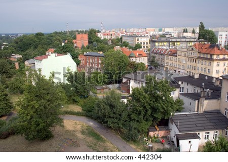 Old and new part of Bydgoszcz, Poland - stock photo