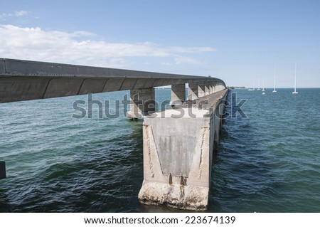 Old and new seven mile bridge at the Florida Keys - stock photo