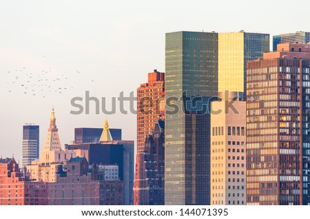 old and new skyscrapers in New York - stock photo