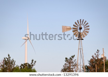 Old and New Windmill - stock photo