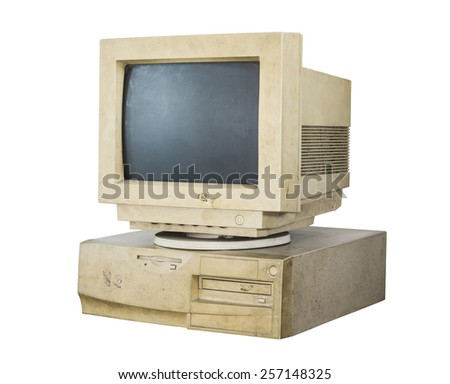old and obsolete computer isolated on white background with clipping path - stock photo