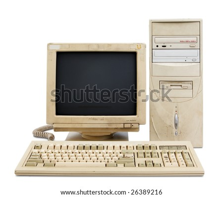 old and obsolete computer set isolated on white - stock photo