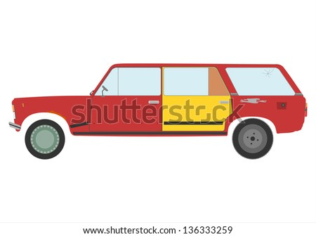 Old and ruined station wagon on a white background. - stock photo