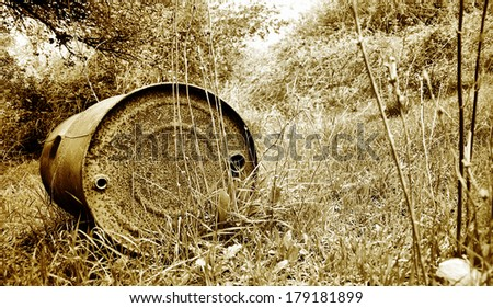 old and rusted oil barrel polluting the forest  - stock photo