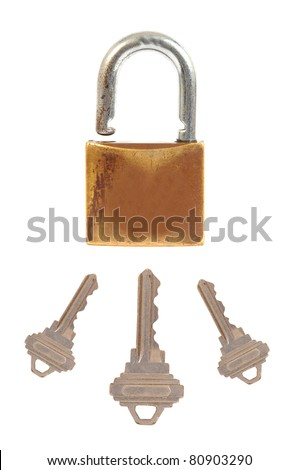 Old and rustic lock and keys - stock photo