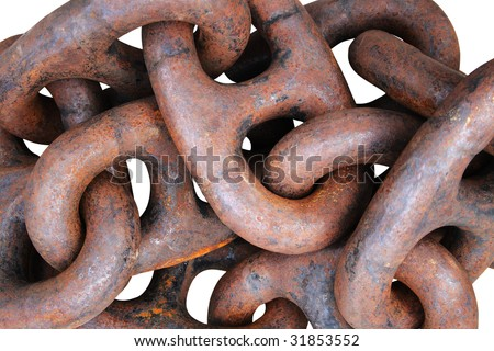 Old and rusty anchor chain background. Isolated on white - stock photo
