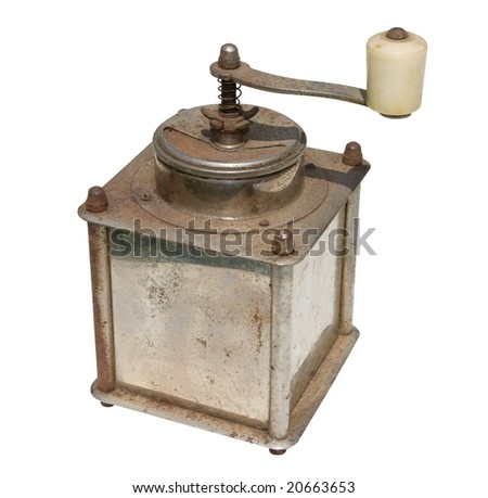 Old and rusty grinder isolated on white. Clipping path included.