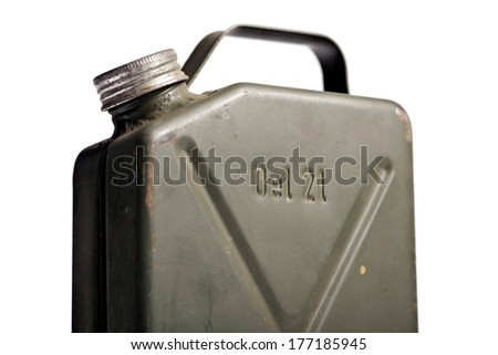 Old and rusty military gasoline canister isolated on white background - stock photo