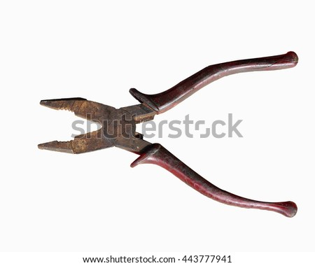 old and rusty pliers on white background - stock photo