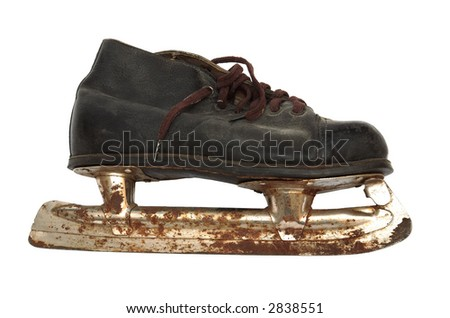 Old and rusty skates on a white background - stock photo