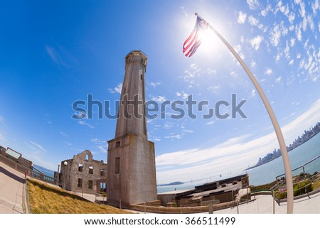 Old and some ruined buildings in Alcatraz - stock photo
