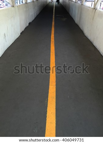 Old and uncleaned skywalk/walk way - deserted - stock photo