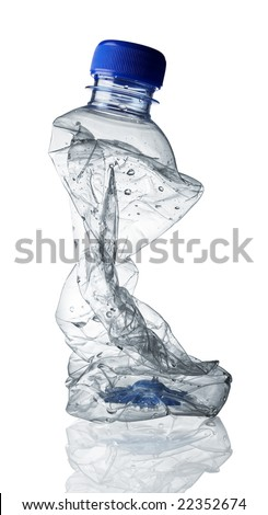 old and unwanted empty bottle was squeezed - stock photo
