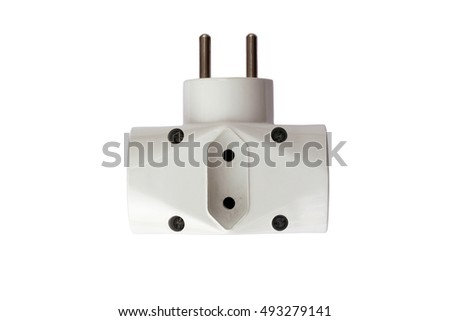 Old and used adapter plug on white background