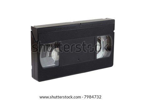 old and used video cassette isolated on white - stock photo