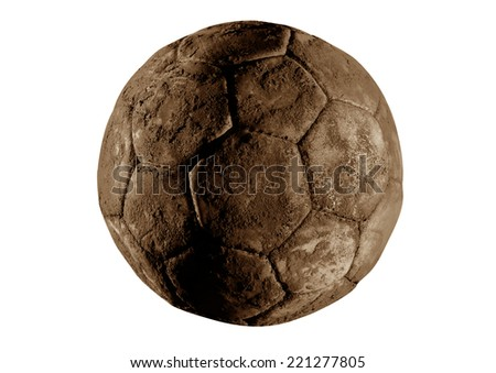 Old and vinatage soccer ball isolated on white background.