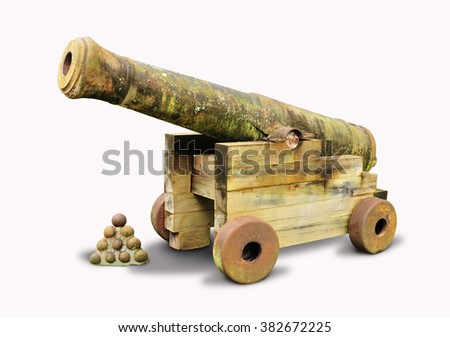 Old and vintage cannon isolated in white background - stock photo