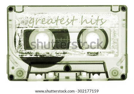 old and vintage cassette tape isolated - stock photo