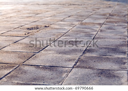 old and vintage floor tiles background - stock photo