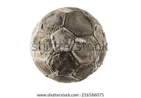 Old and vintage soccer ball isolated on white background. - stock photo
