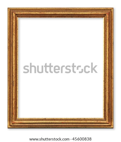 Old and worn golden picture frame. Isolated on white. Clipping path included.