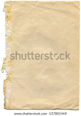 old and worn paper isolated on white background