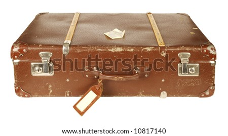 Old and worn retro suitcase isolated on white background - stock photo