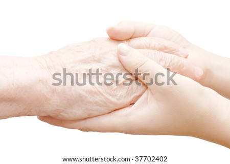 old and young hands isolated on white - stock photo