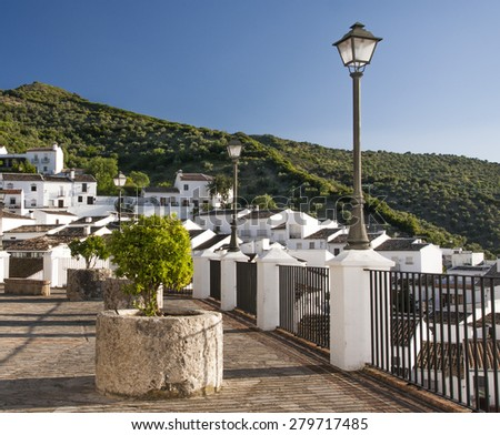 Old Andalucia Village Zahara with lake in Spain (Pueblos Blancos - White towns in Andalucia) - stock photo