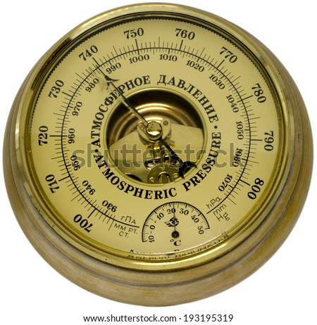 Old aneroid barometer - stock photo