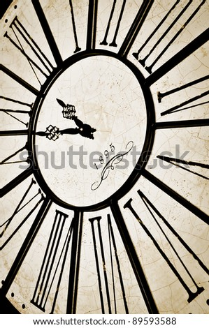Old anque clock close-up - stock photo